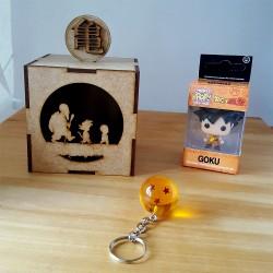 Combo de caja mdf con llavero pop y de esfera