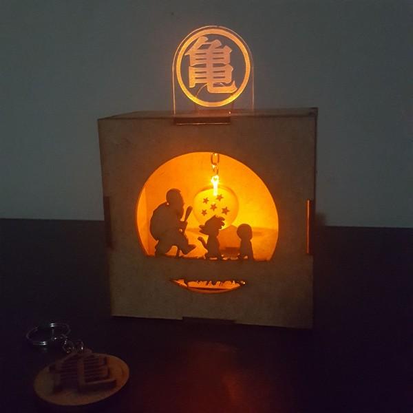 Caja mdf con luz led y un llavero de esfera