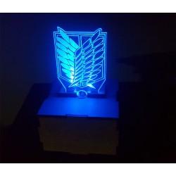 Caja de mdf con luz led y logo Attak on titan