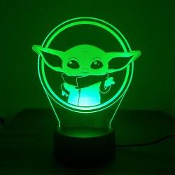 Lampara de acrílico Baby Yoda diseño circular