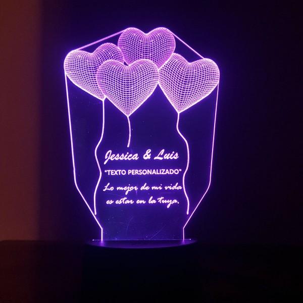 Lampara de acrílico con LED diseño de globos (Texto personalizado)