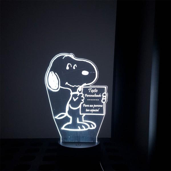 Lampara LED de Snoopy con texto personalizado