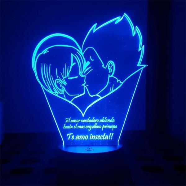 Lampara de acrílico con LED Vegeta y Bulma (texto personalizado)