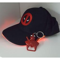 Combo Gorra led + llavero destapador Deadpool