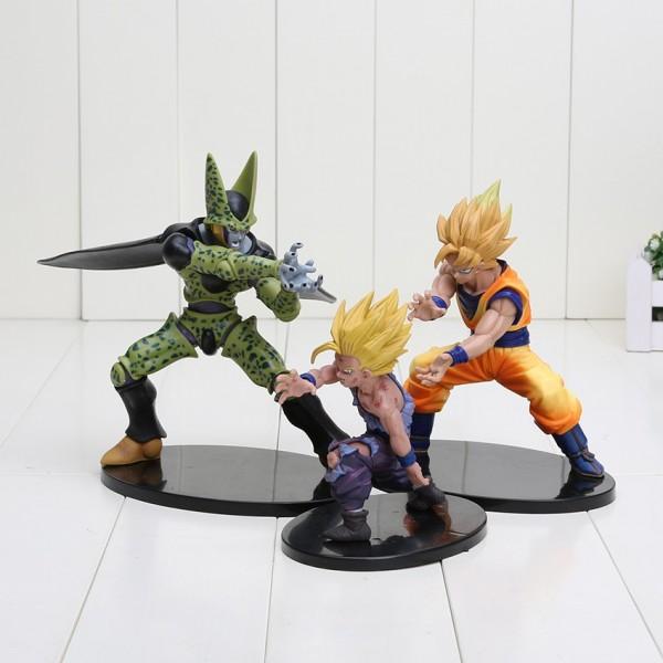 Set de 3 figuras (Gohan, Cell y Goku SS)